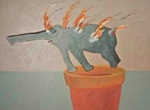 schilderij brandende olifant