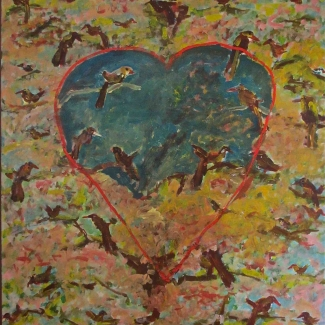 1991 heart with birds in tree oil on canvas 130/175cm