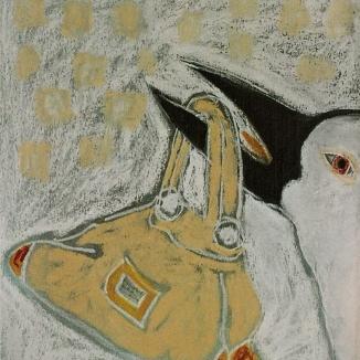 'vogel met tas' pastel