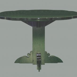 1970 bloemtafel gebeitst/gelakt multiplex