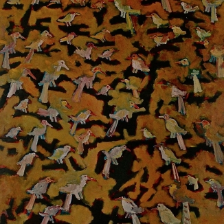 1991 birds in tree oil on canvas 130/175cm