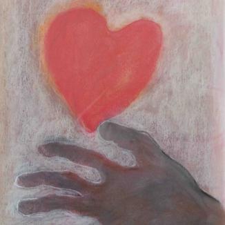 2002'hand met hart' pastel