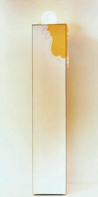1975 zuillamp formica 2 kleuren plexiglas h.110cm