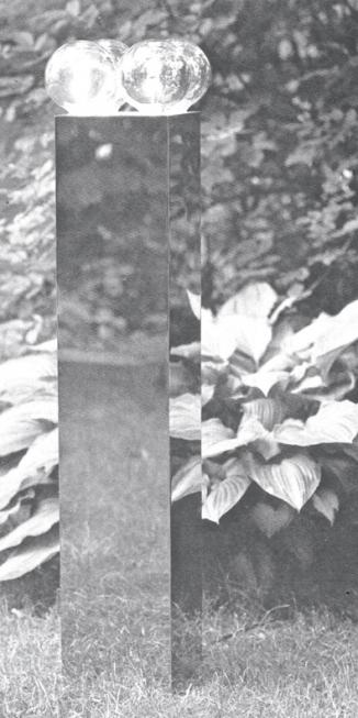 1975zuillamp gepol. rvs met spiegellampen h 110cm