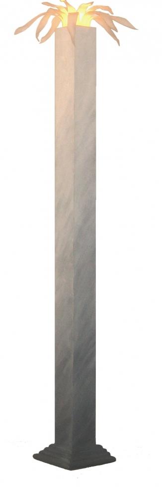 1989 zuillamp met bladeren beschilderd+plexiglas h 190cm