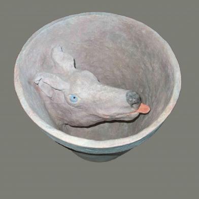 2001 pot met hond keramiek h 27 d 30cm