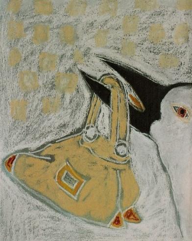 2003'vogel met tas' pastel