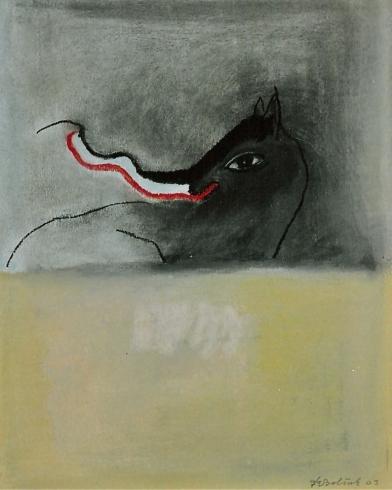 2003 'paard met tong' pastel