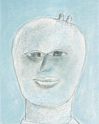 2003 'blauw hoofd' pastel met potlood