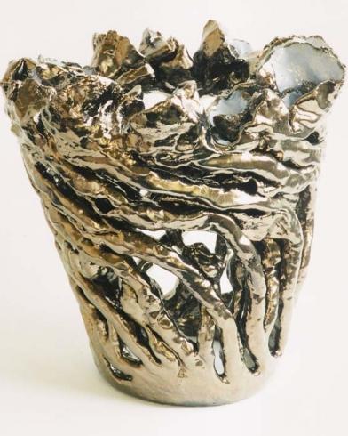 2013 bloemvaas goudbrons + lichtblauw keramiek 42cm