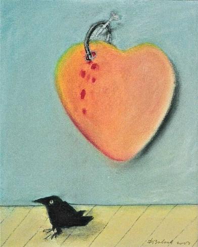 2003 'hart met spijker en vogel' pastel