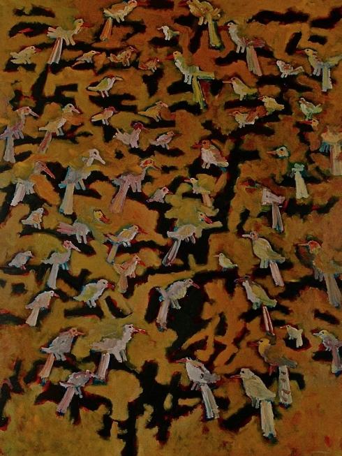 1991 birds in tree oil on canvas 130/175cm